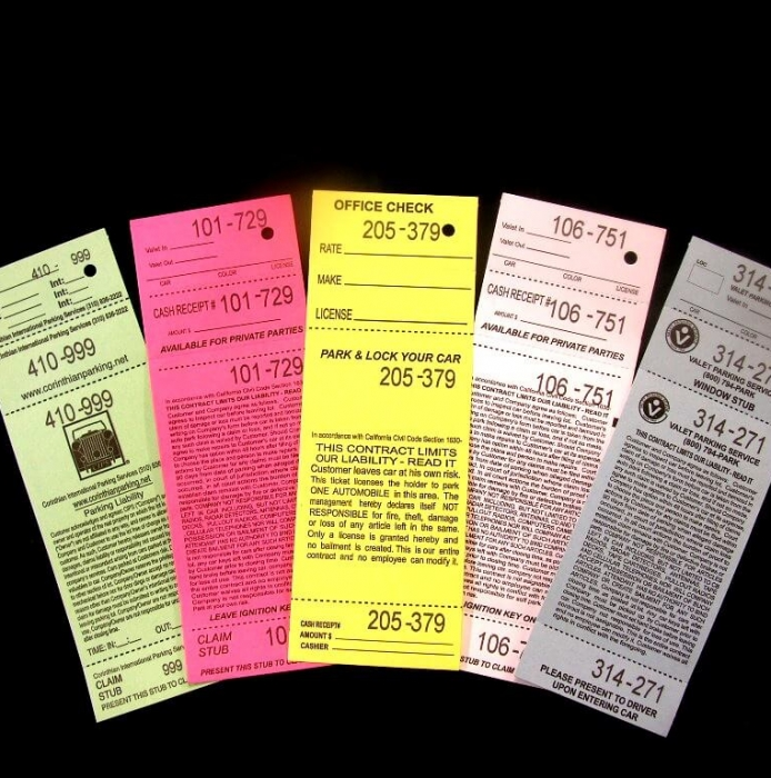 Parking – Valet Tickets